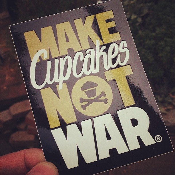 Johnny cupcakes make cupcakes not war vinyl sticker