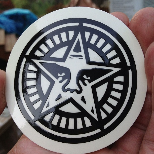 Circle shaped vinyl sticker for obey giant