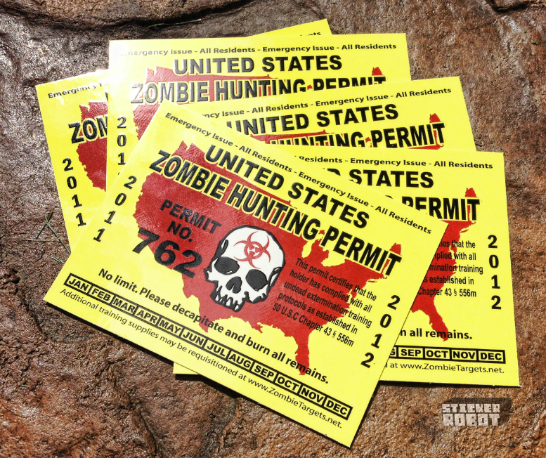 zombie hunting stickers printed by stickerobot
