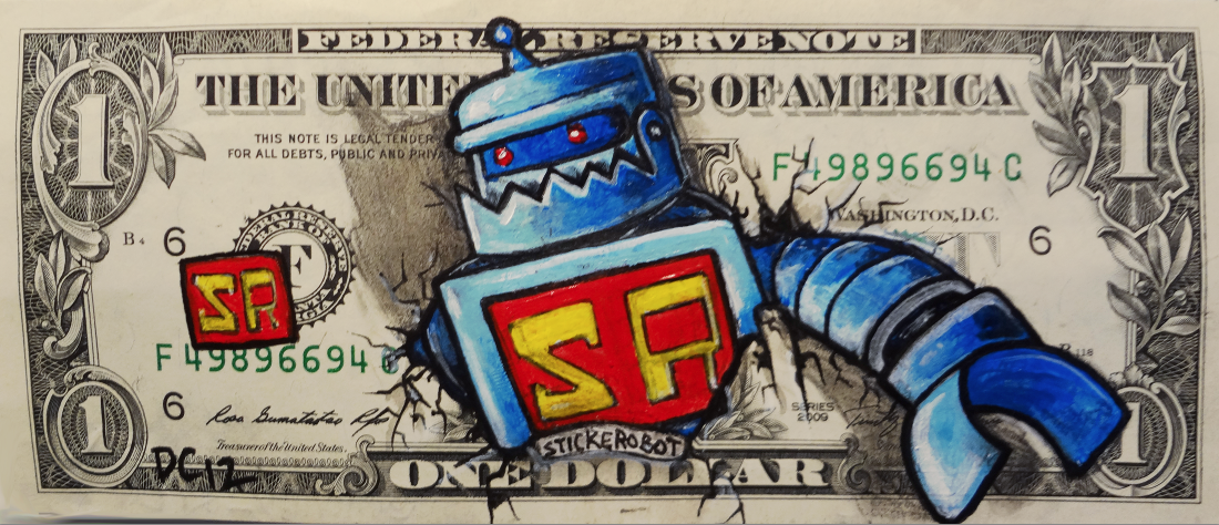 sticker robot dollar bill by donovan clark