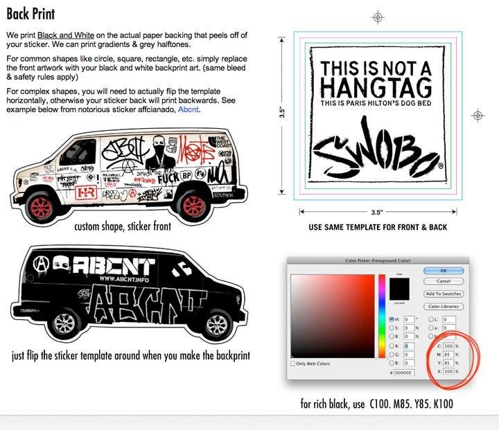 custom sticker back printing