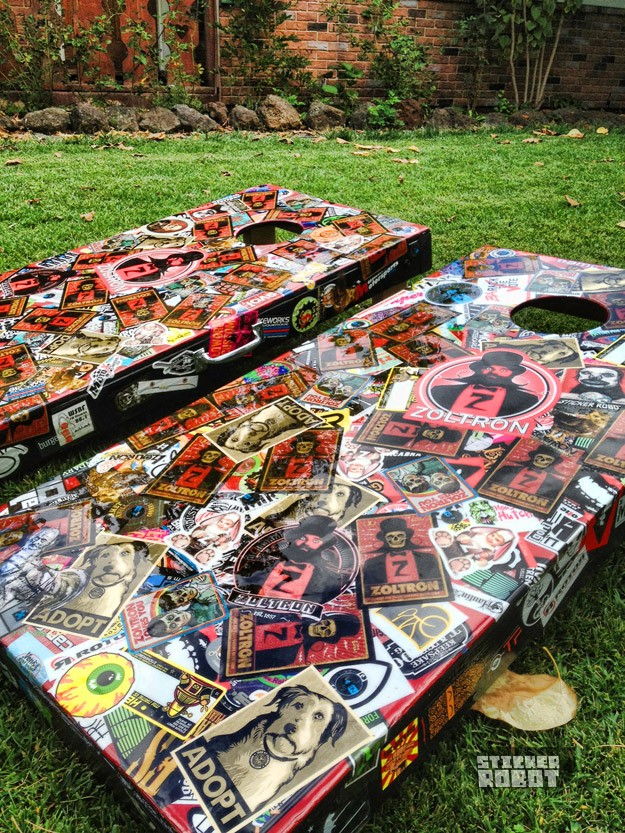 sticker covered lawn games