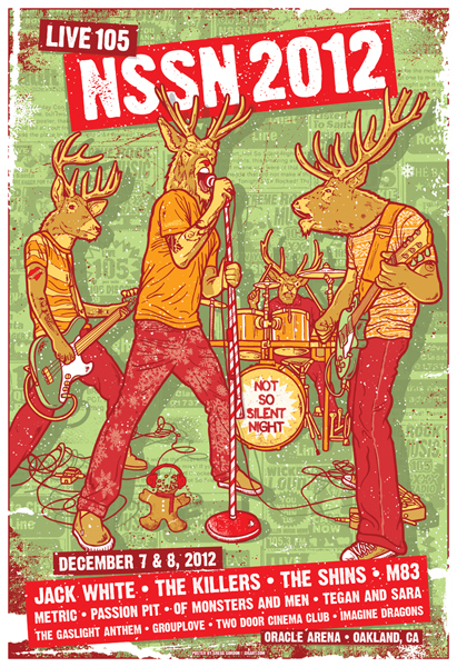 jack white, the killers, the shins poster