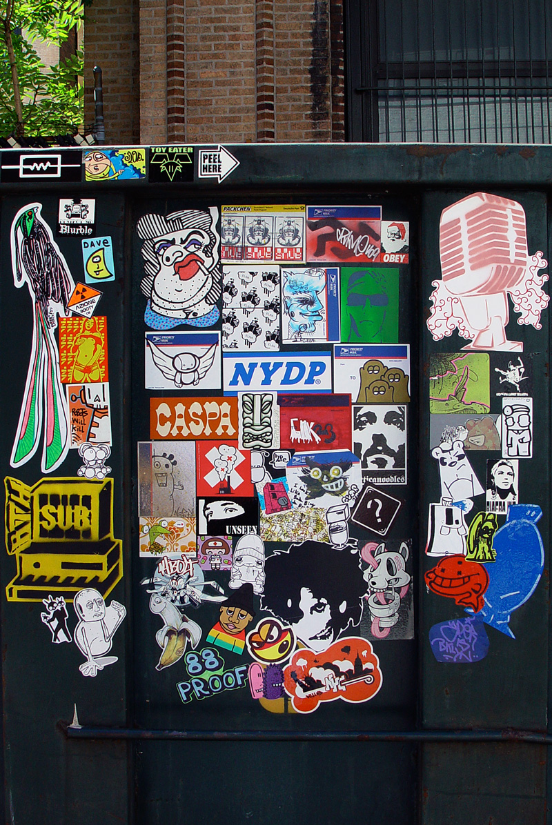 outdoor vinyl silkscreen stickers in urban city billi kid