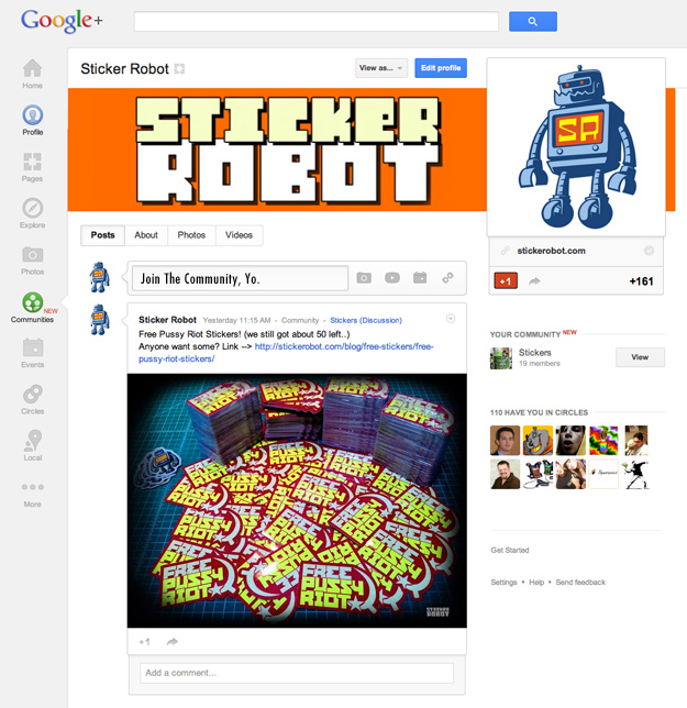sticker community google plus