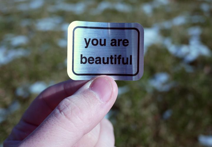 metallic you are beautiful sticker