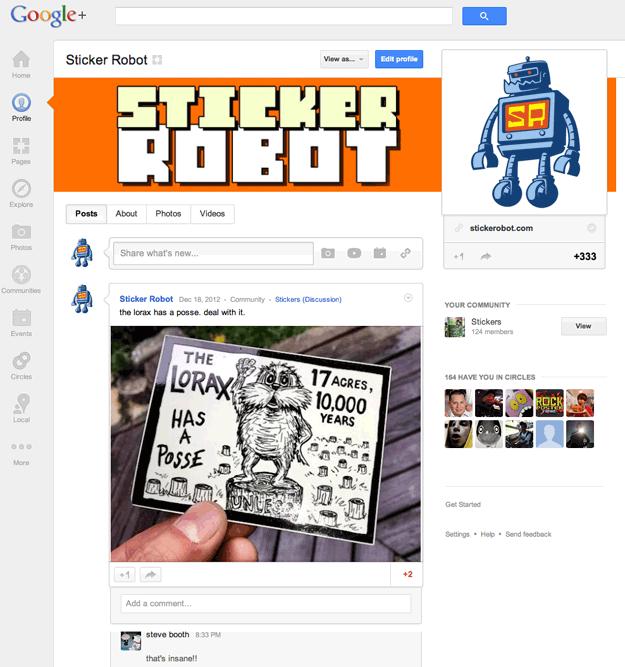 sticker community google plus +