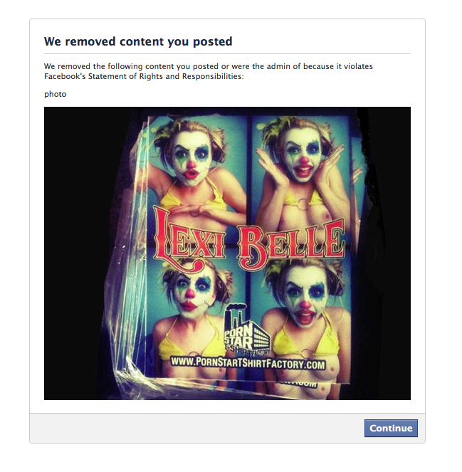 sticker robot banned on facebook for posting a photo of a sticker of a clown with nipples.