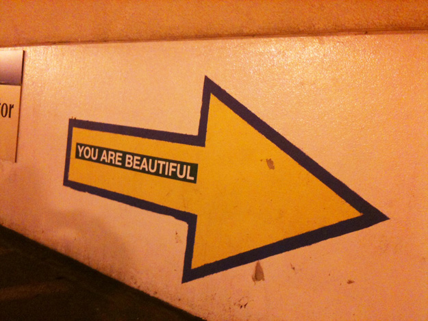 silkscreen you are beautiful bumper sticker