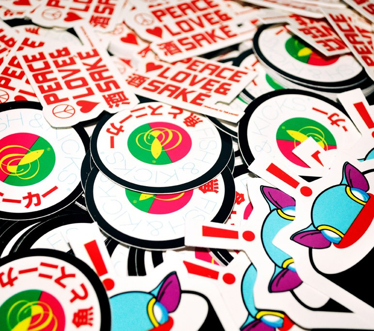 Peace Love And Sake Custom Vinyl Stickers For An Independent - Custom printed vinyl stickers