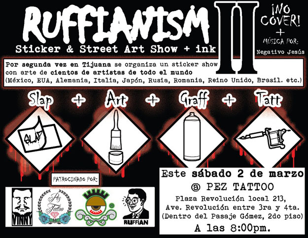 An art show flyer celebrating street art stickers and sticker artists