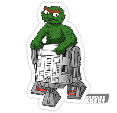 Vinyl Die Cut Sticker R2D2 Oscar the Grouch