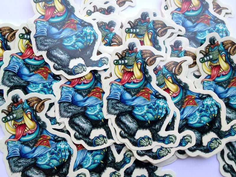 big pile of custom die-cut stickers