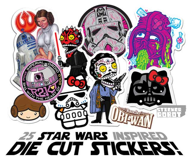 Custom diecut stickers of star wars characters