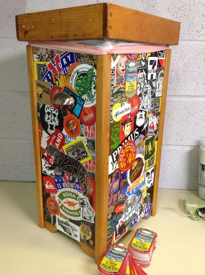 A Trashcan Covered In Stickers Sticker Robot