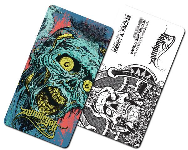 Business card stickers 25 creative unique examples to inspire zombie yeti studios custom shape sticker business card colourmoves