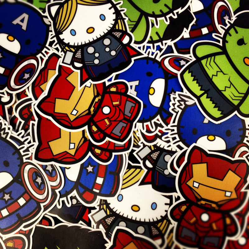 Custom Die Cut Kitty Avengers Stickers
