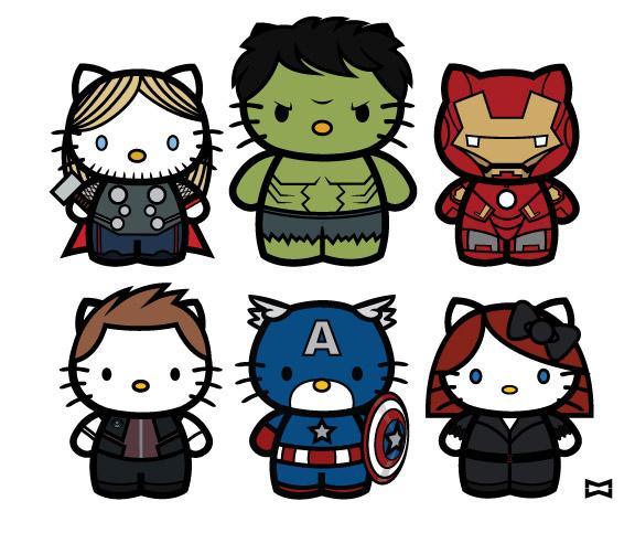 Custom Sticker Printing Die Cut Kitty Avengers Stickers - Hello kitty custom vinyl stickers