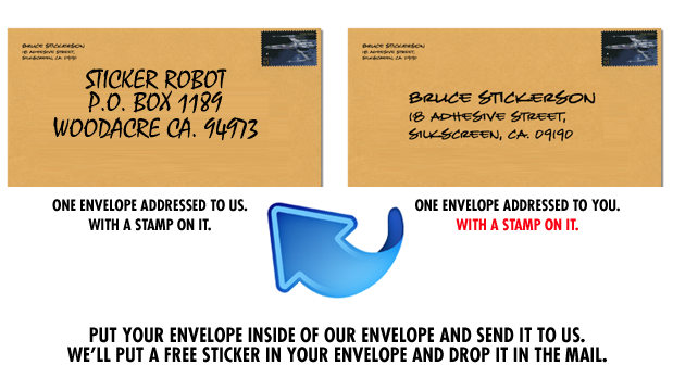Self addressed stamped envelope sticker giveaway from sticker robot