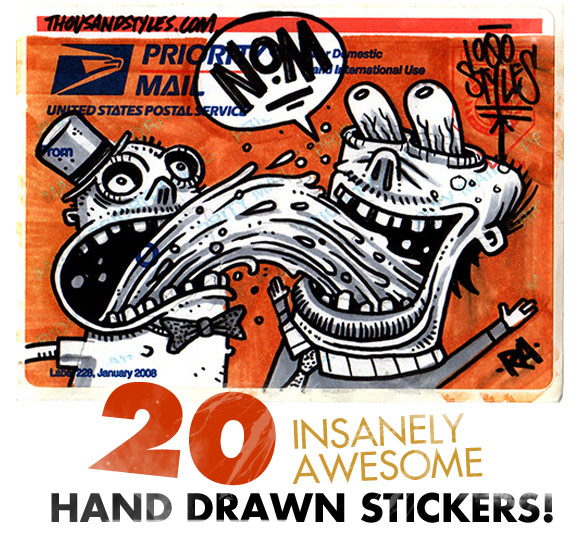 Dan draws kick ass, custom stickers on USPS priority sticker paper. We like  Dan. Dan Rules…Here's 20 Insanely Awesome, Hand Drawn Custom Stickers by ...