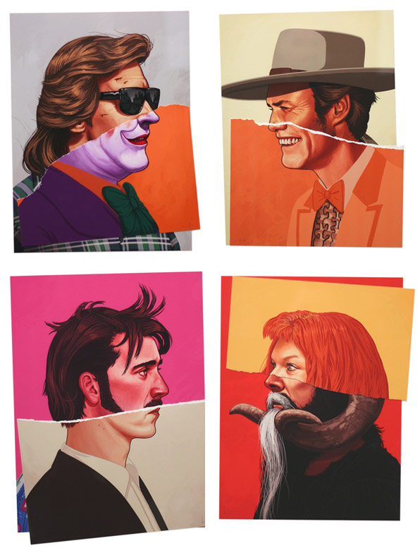 celebrity stickers illustrations by mike mitchell