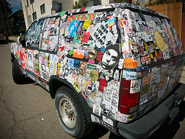A Car Covered In Stickers Literally Covered Sticker