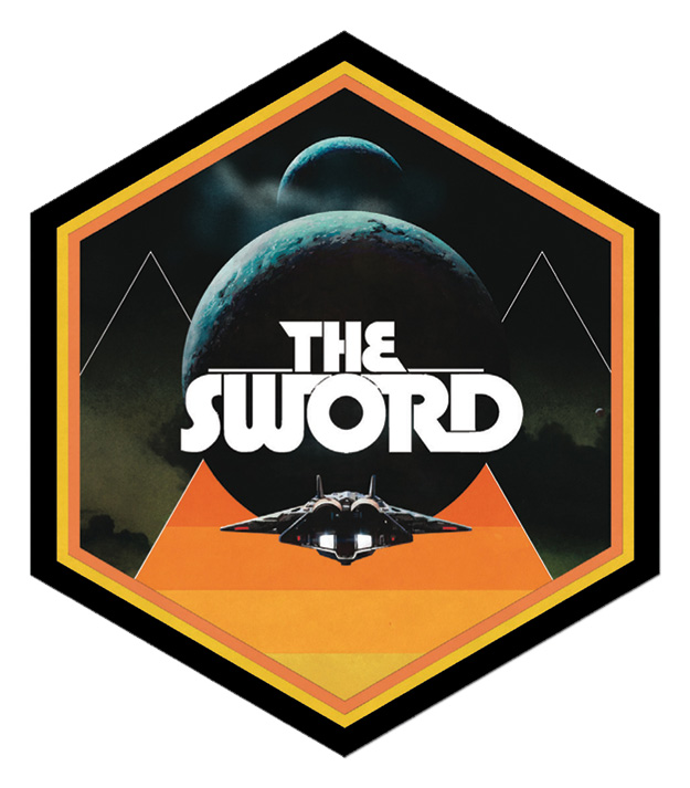 Die cut stickers for my band the sword