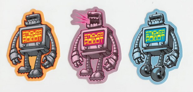 Custom sticker robot keyshot3d render stickerobot logos