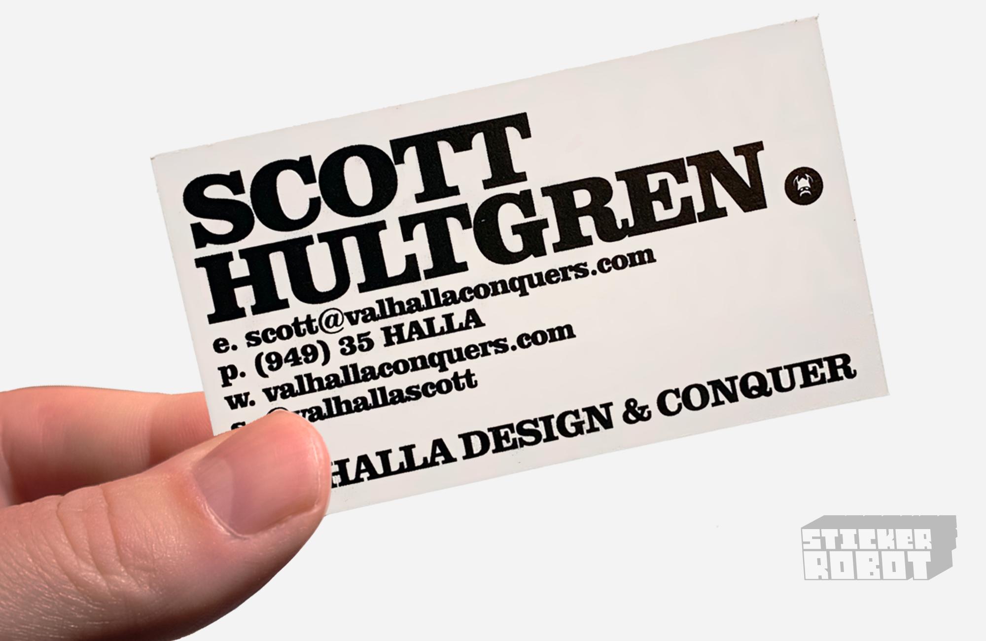 business card sticker back