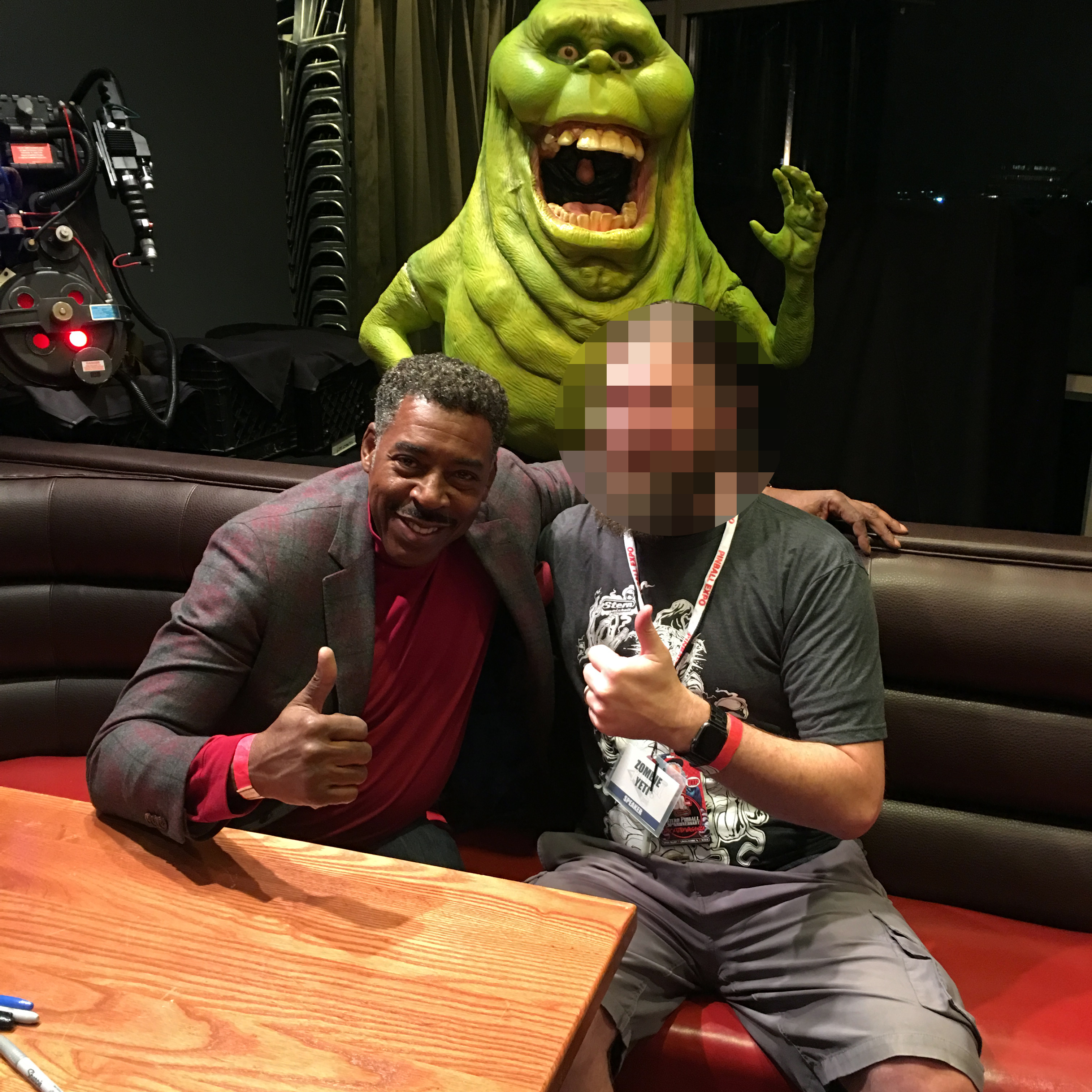 Ernie 'Winston' Hudson and Zombie Yeti signed autographs as Stern Pinball's Epic Party