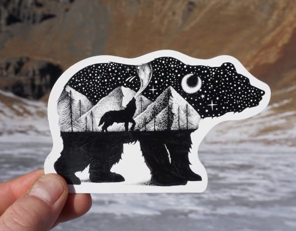 Bear and Wolf Nature Sticker