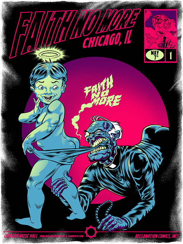 Faith No More gig poster by Zombie Yeti