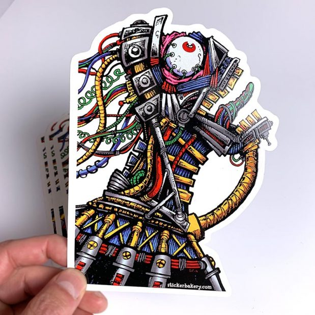 custom shape die cut robot sticker