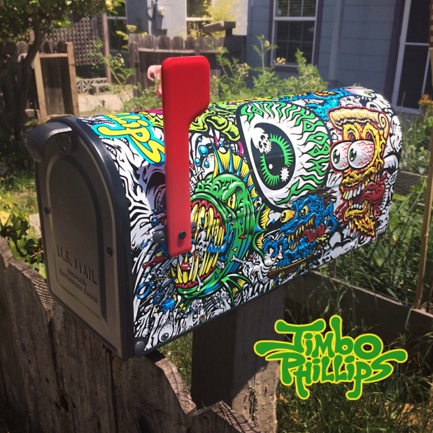 Jimbo Phillips One of a kind Sticker Covered Mailbox