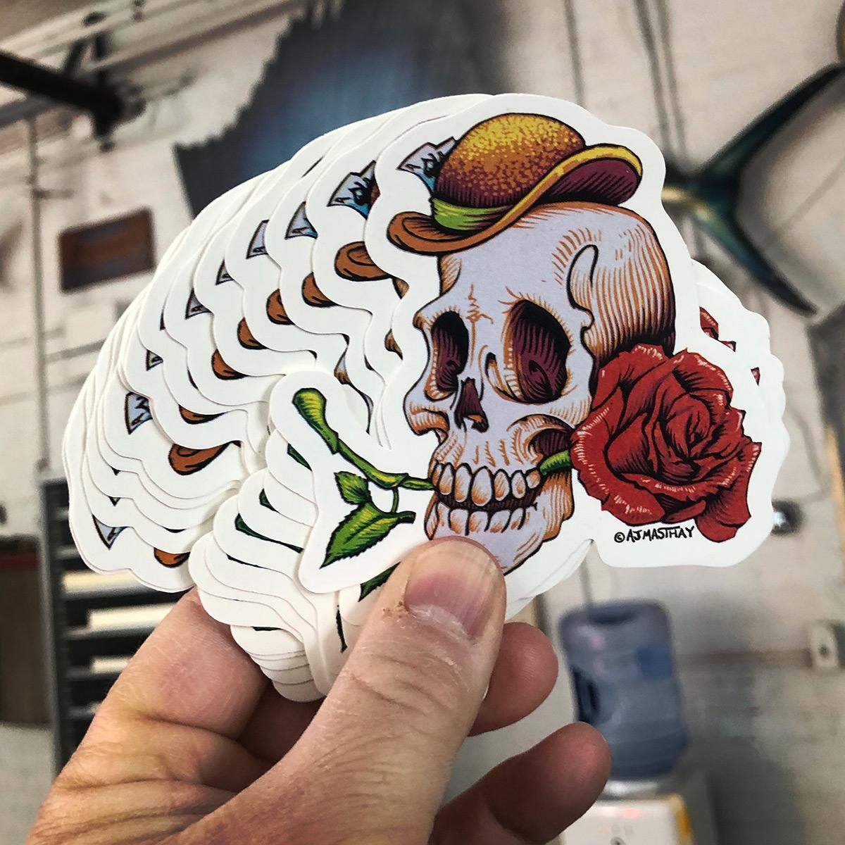 AJ Masthay Skull with Rose Sticker
