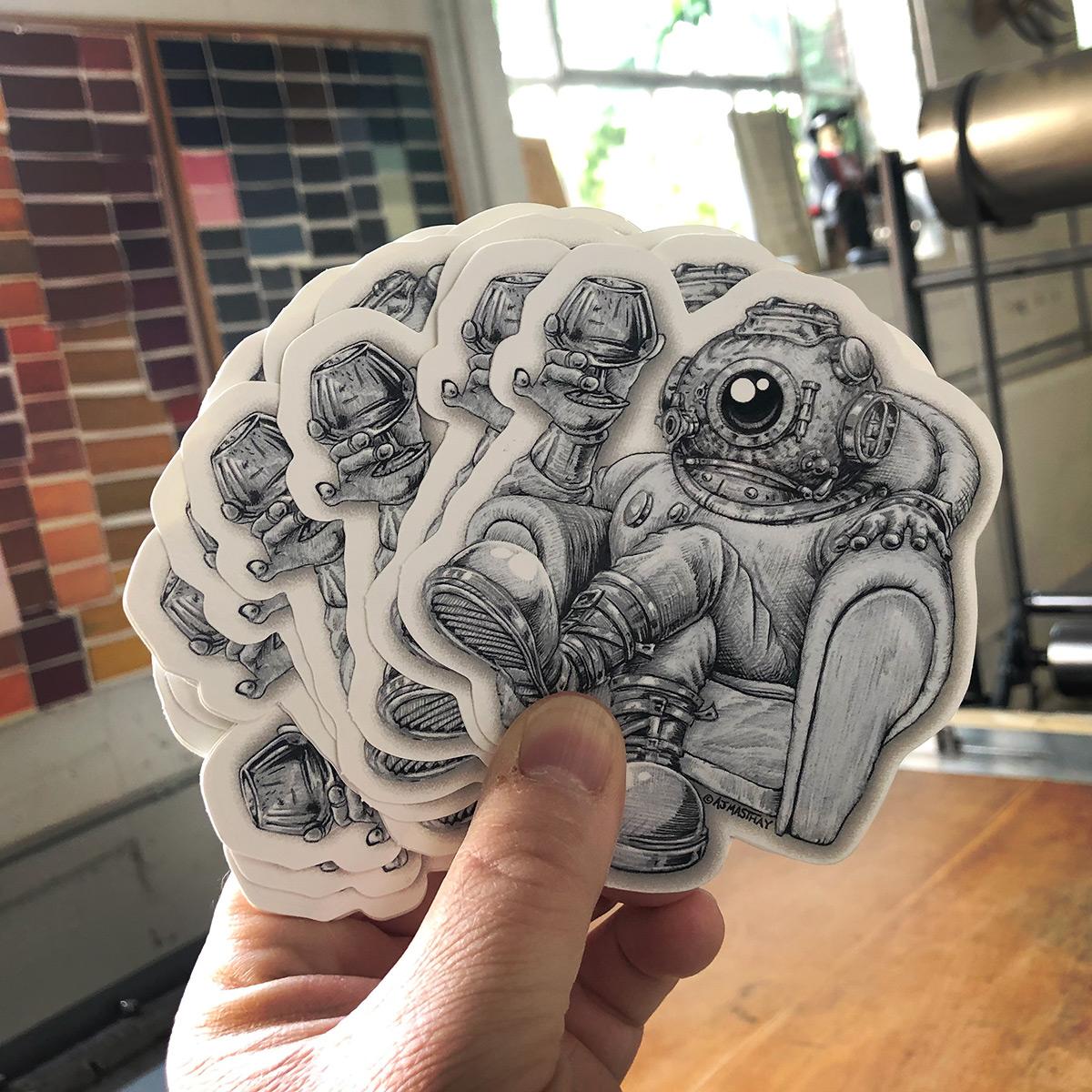 AJ Masthay Drinking Spaceman Die Cut Sticker