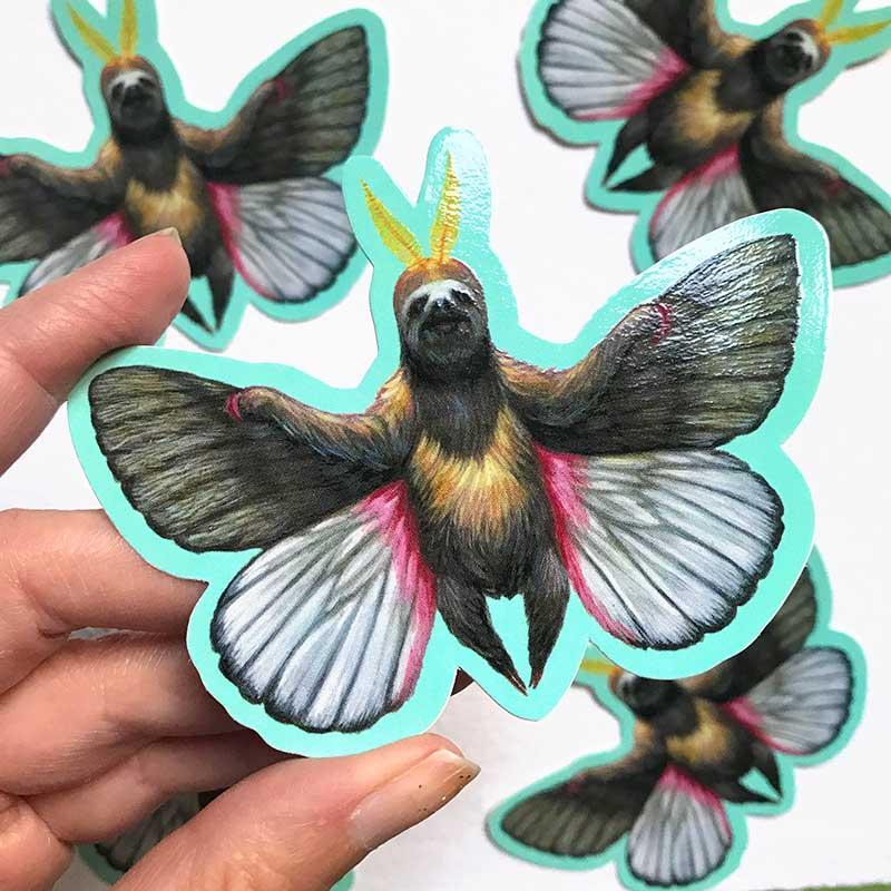 Casey Weldon Sloth Moth Stickers