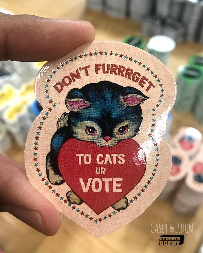 Vote Sticker By Casey Weldon